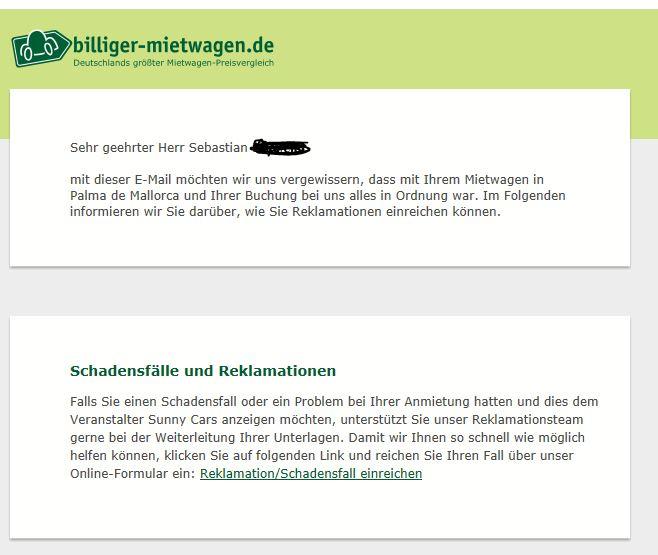 E-Mail von Billiger-Mietwagen mit dem Link zur Schadensregulierung