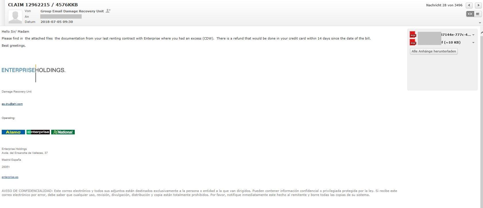 Ist das Spam oder soll das weg? Email von Enterprise.